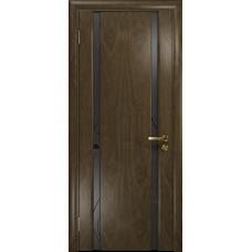 Ульяновская дверь Триумф-2 американский орех стекло триплекс черный «вьюнок» матовый