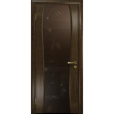 Ульяновская дверь Портелло-2 американский орех тонированный стекло триплекс бронзовый «вьюнок» глянцевый
