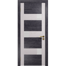 Ульяновская дверь Ронда-1 абрикос/ясень белый стекло триплекс белый