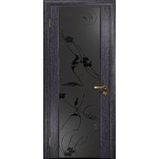 Ульяновская дверь Триумф-3 абрикос стекло триплекс черный «вьюнок» матовый