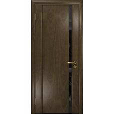 Ульяновская дверь Триумф-1 американский орех стекло триплекс черный «вьюнок» глянцевый