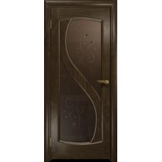 Ульяновская дверь Диона-2 американский орех тонированный стекло бронзовое пескоструйное «лилия»