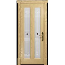 Ульяновская дверь Неаполь ясень ваниль стекло белое пескоструйное «ромб»