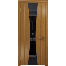 Ульяновская дверь Соната-2 анегри стекло триплекс черный с гравировкой «звезда»