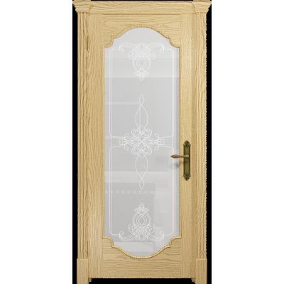 Ульяновская дверь Валенсия-2 ясень ваниль стекло белое пескоструйное «валенсия»