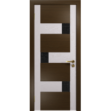 Ульяновская дверь Ронда-1 венге/ясень белый стекло триплекс черный с тканью