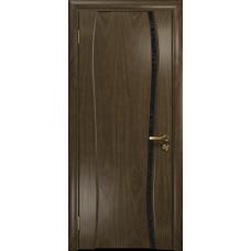 Ульяновская дверь Портелло-1 американский орех стекло триплекс черный с тканью