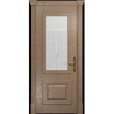 Ульяновская дверь Кардинал дуб стекло белое с гравировкой «кардинал»