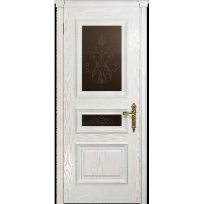 Ульяновская дверь Версаль-2 Декор ясень белый золото стекло бронзовое пескоструйное «версаль-2»