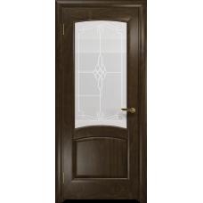 Ульяновская дверь Ровере американский орех тонированный стекло белое пескоструйное «корено»