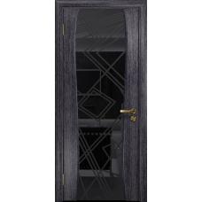 Ульяновская дверь Портелло-2 абрикос стекло триплекс черный 3d «куб»