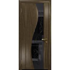 Ульяновская дверь Фрея-2 американский орех стекло триплекс черный «сабина» глянцевый
