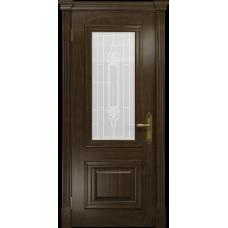 Ульяновская дверь Кардинал американский орех стекло белое пескоструйное «кардинал»