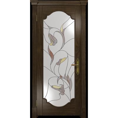 Ульяновская дверь Валенсия-2 американский орех тонированный стекло витраж «кампанелла»