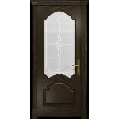 Ульяновская дверь Валенсия-1 ясень венге стекло белое пескоструйное «корено»