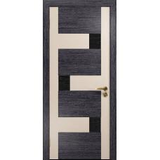Ульяновская дверь Ронда-2 абрикос/дуб беленый стекло триплекс черный с тканью