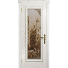 Ульяновская дверь Версаль-5 Декор ясень белый золото стекло цифровая фреска