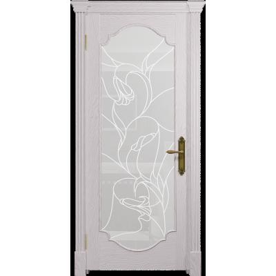 Ульяновская дверь Валенсия-2 ясень белый стекло белое пескоструйное «кампанелла»