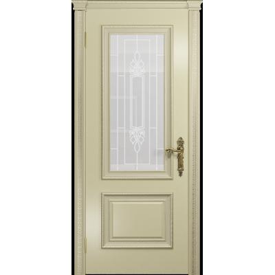 Ульяновская дверь Версаль-1 Декор эмаль слоновая кость стекло белое пескоструйное «кардинал»
