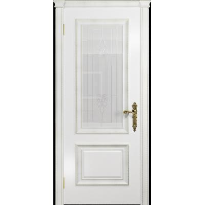 Ульяновская дверь Версаль-1 Декор эмаль белая стекло белое пескоструйное «кардинал»