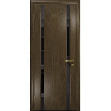 Ульяновская дверь Триумф-2 американский орех стекло триплекс черный «вьюнок» глянцевый