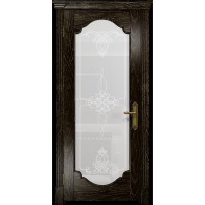 Ульяновская дверь Валенсия-2 ясень венге золото стекло белое пескоструйное «валенсия»