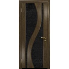 Ульяновская дверь Веста американский орех стекло триплекс черный с тканью