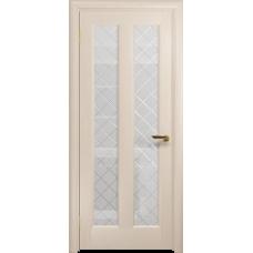 Ульяновская дверь Тесей дуб беленый стекло белое с гравировкой «решетка»