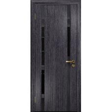 Ульяновская дверь Триумф-2 абрикос стекло триплекс черный «вьюнок» глянцевый