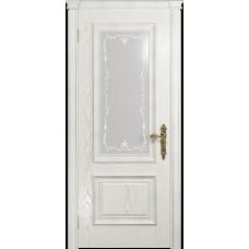 Ульяновская дверь Версаль-1 Декор ясень белый золото стекло белое пескоструйное «версаль-1»