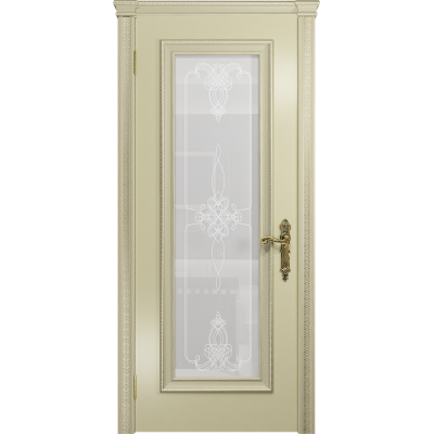 Ульяновская дверь Версаль-5 Декор эмаль слоновая кость стекло белое пескоструйное «валенсия»