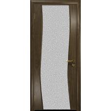 Ульяновская дверь Грация-3 американский орех стекло триплекс белый с тканью