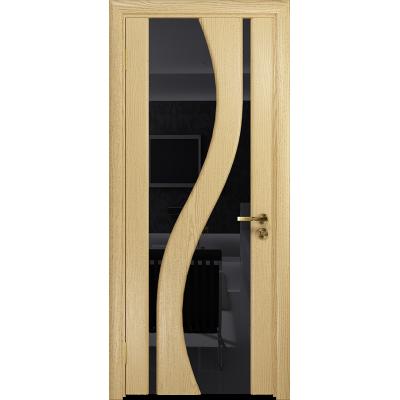 Ульяновская дверь Веста ясень ваниль стекло триплекс черный