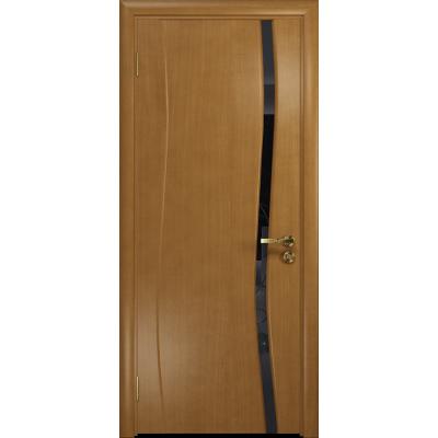 Ульяновская дверь Грация-1 анегри стекло триплекс черный «вьюнок» глянцевый