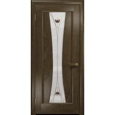 Ульяновская дверь Соната-1 американский орех стекло витраж «тюльпан»