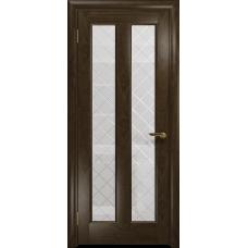 Ульяновская дверь Тесей американский орех тонированный стекло белое с гравировкой «решетка»