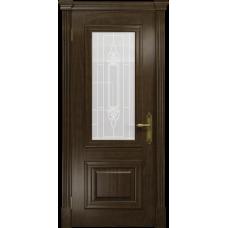 Ульяновская дверь Кардинал американский орех тонированный стекло белое пескоструйное «кардинал»