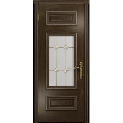 Ульяновская дверь Версаль-4 американский орех тонированный стекло витраж «адель»