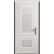 Ульяновская дверь Версаль-1 ясень белый стекло белое с гравировкой «кардинал»