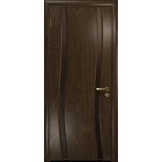 Ульяновская дверь Грация-2 американский орех тонированный стекло триплекс бронзовый «вьюнок» глянцевый