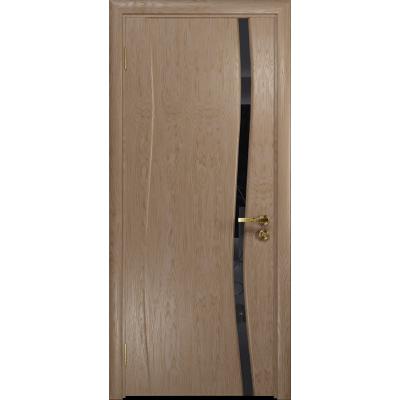 Ульяновская дверь Грация-1 дуб стекло триплекс черный «вьюнок» глянцевый