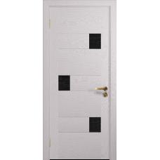 Ульяновская дверь Ронда-1 ясень белый стекло триплекс черный с тканью