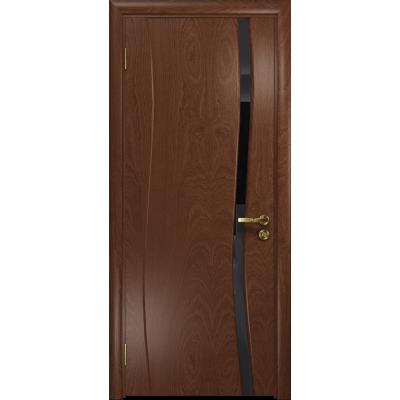 Ульяновская дверь Грация-1 красное дерево стекло триплекс черный