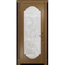 Ульяновская дверь Валенсия-2 ясень античный стекло белое пескоструйное «кампанелла»