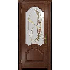 Ульяновская дверь Валенсия-1 красное дерево стекло витраж «овал»