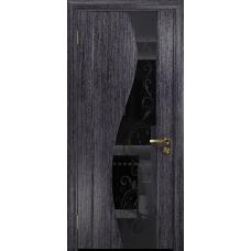 Ульяновская дверь Фрея-2 абрикос стекло триплекс черный «сабина» глянцевый