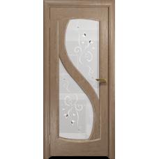 Ульяновская дверь Диона-2 дуб стекло белое пескоструйное «лилия»