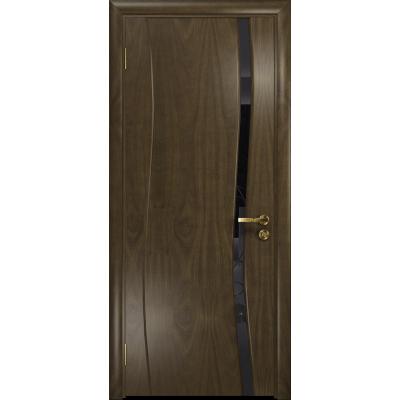 Ульяновская дверь Грация-1 американский орех стекло триплекс черный «вьюнок» глянцевый