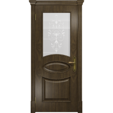Ульяновская дверь Санремо американский орех стекло белое пескоструйное «италия»