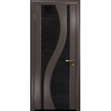 Ульяновская дверь Веста эвкалипт стекло триплекс черный с тканью